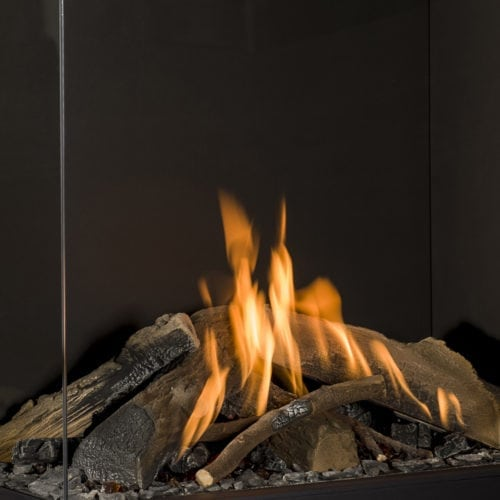 Which types of fires and burners are available with a gas fireplace?
